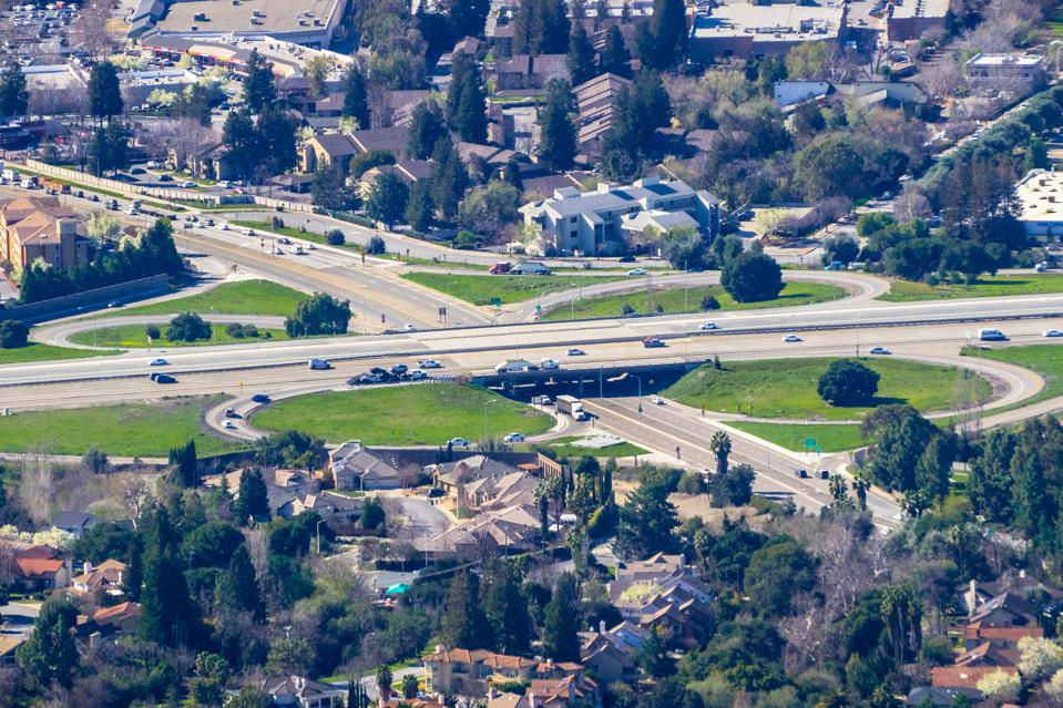 Aerial view of highway junction, Fremont, east San Francisco bay, California