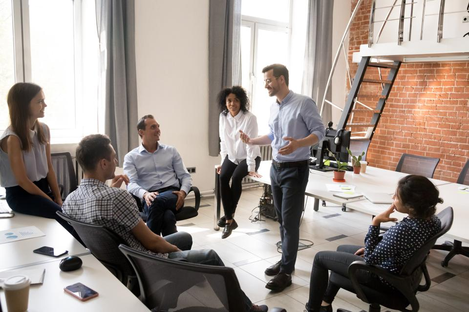Group of business professionals having a meeting