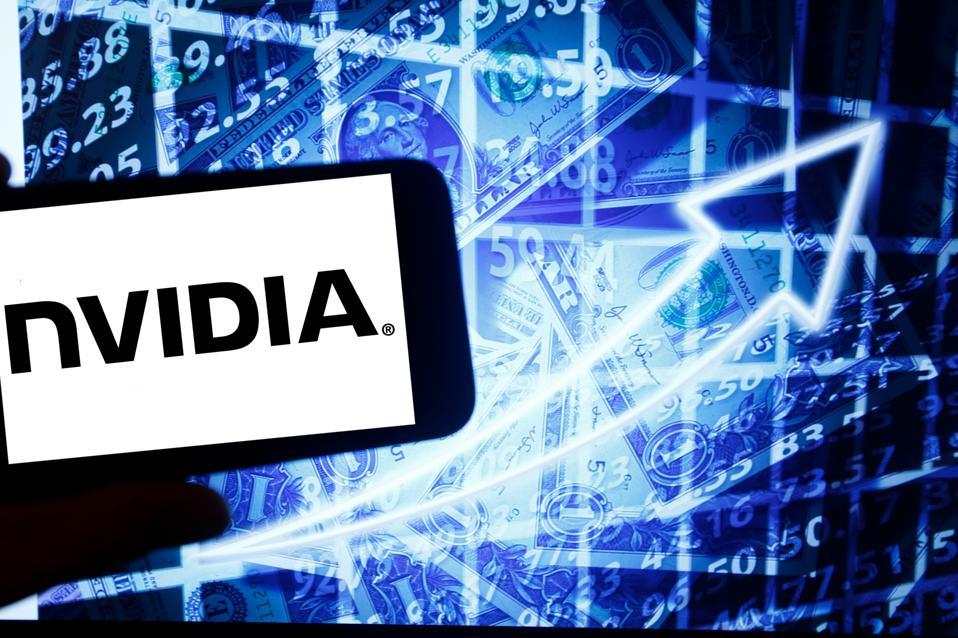 NVIDIA logo and stock market illustration