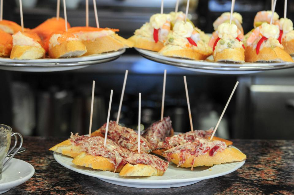 Plates of pintxos