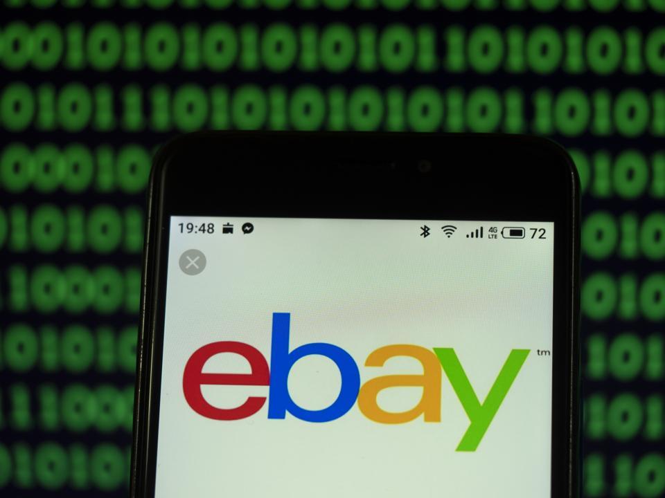eBay E-commerce company logo seen displayed on a smart phone