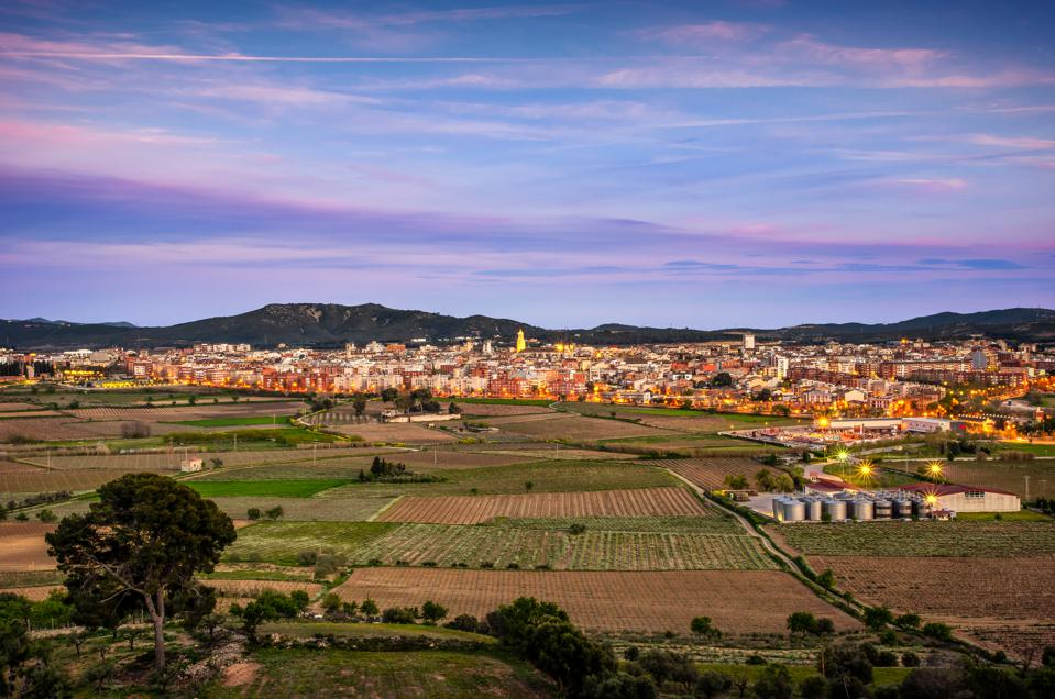 Vilafranca del Penedes skyline at sunset. Catalonia. Spain