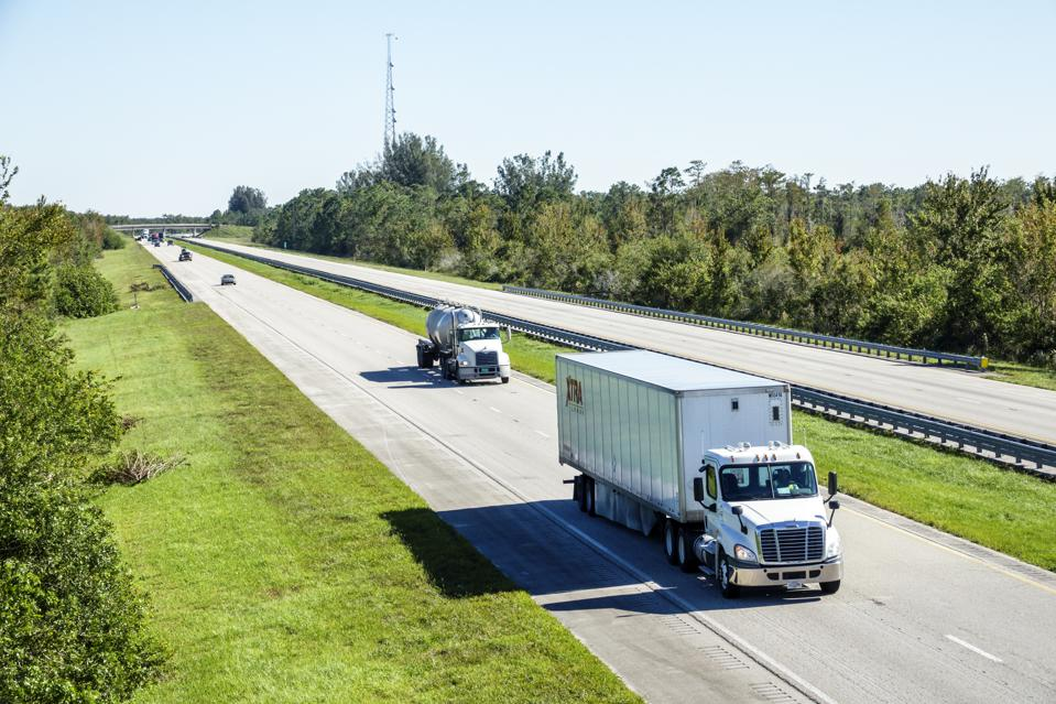 Florida Turnpike, highway traffic with truck