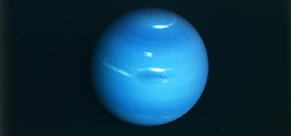 This is the only whole-planet image we have of Neptune, taken by Voyager 2's narrow angle camera in 1989.