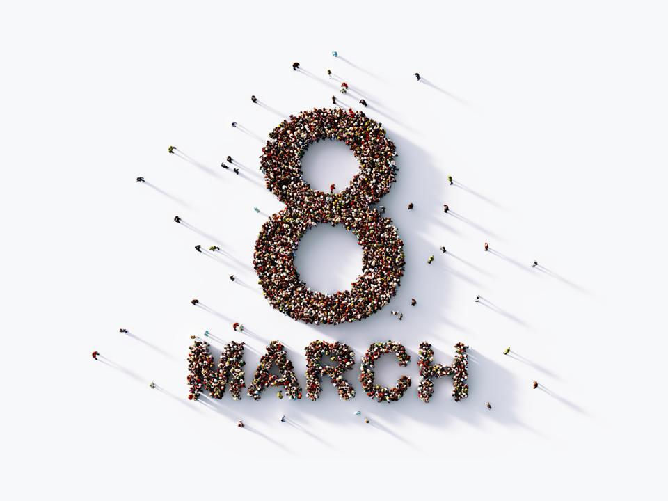 Human Crowd Forming An Eight March On White Background : International Women's Day Concept