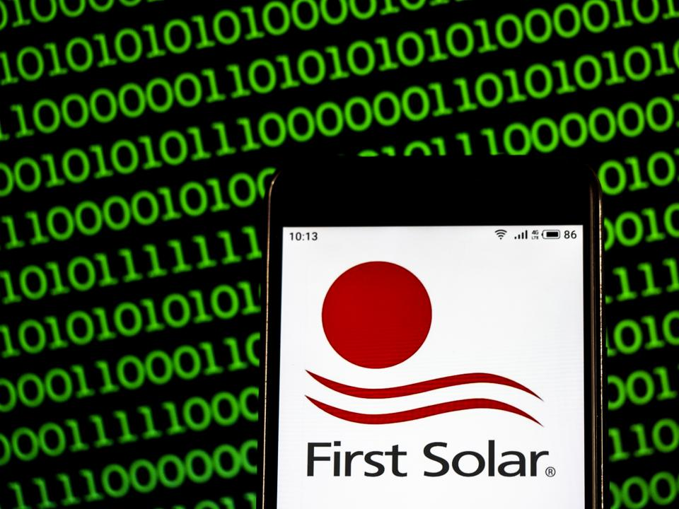 First Solar Semiconductor manufacturing company logo seen