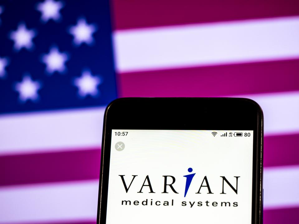 Varian Medical Systems Company logo seen displayed on a