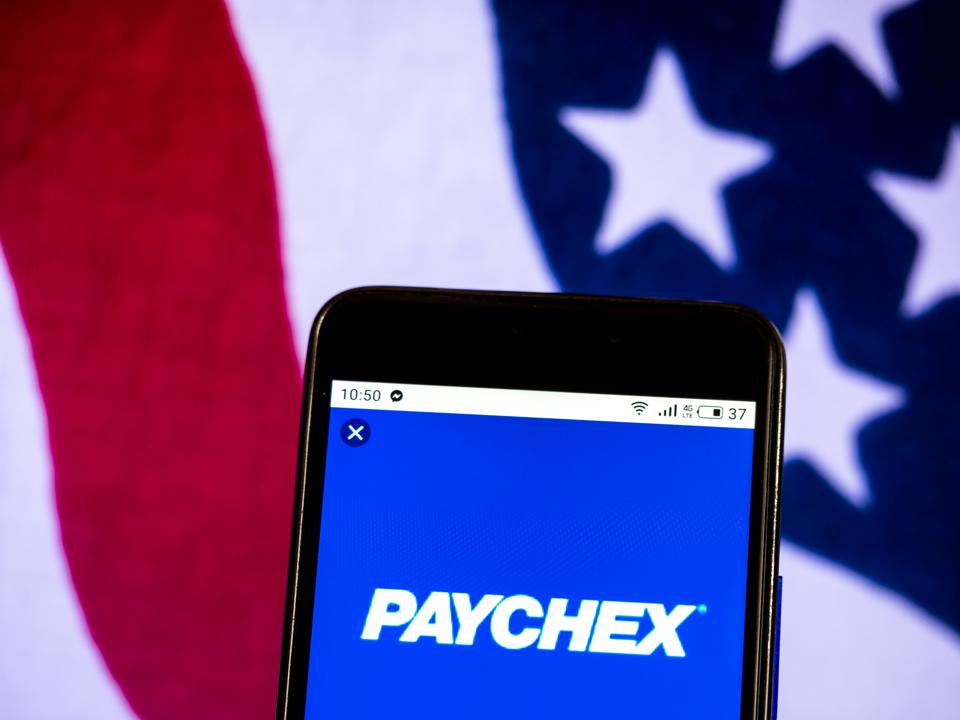 Paychex Payroll services company logo seen displayed on a