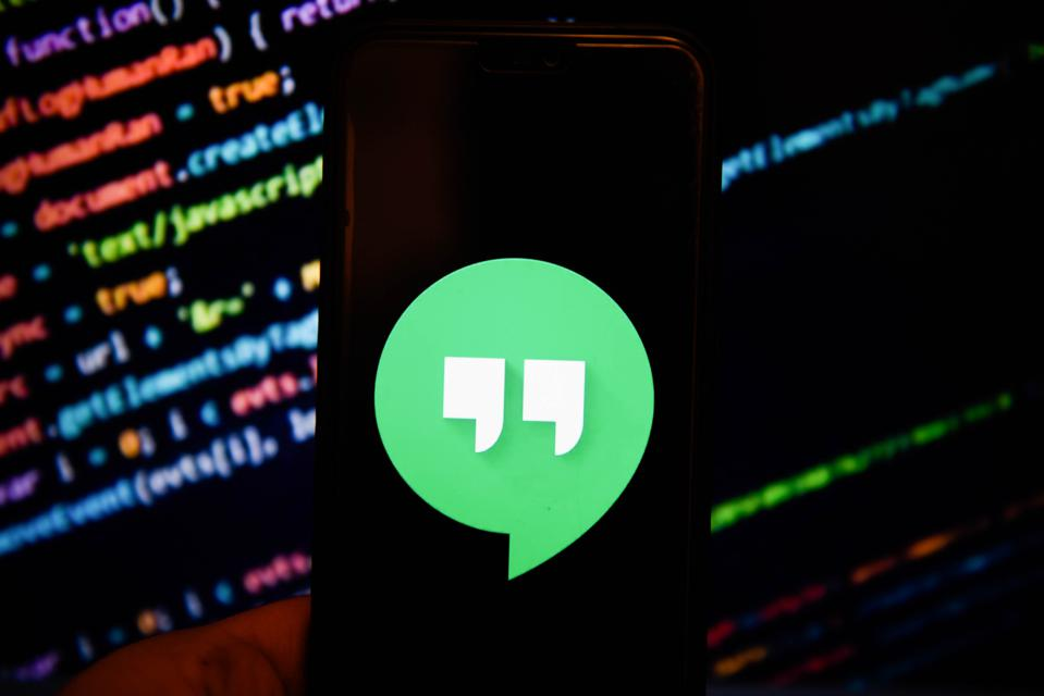Google Hangouts logo is seen on an android mobile phone