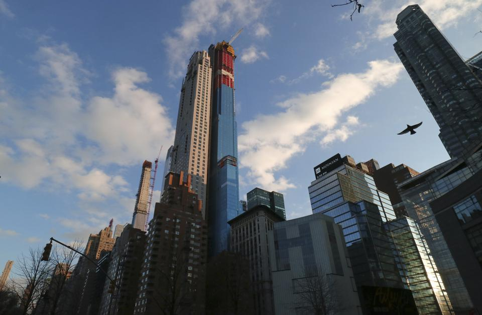 At 952 feet, 220 Central Park South will be among the tallest residential buildings in New York. It is one of several super-tall structures scheduled for completion this year.