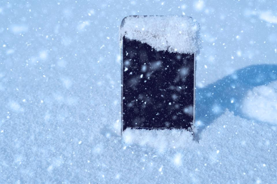 smartphone in snow