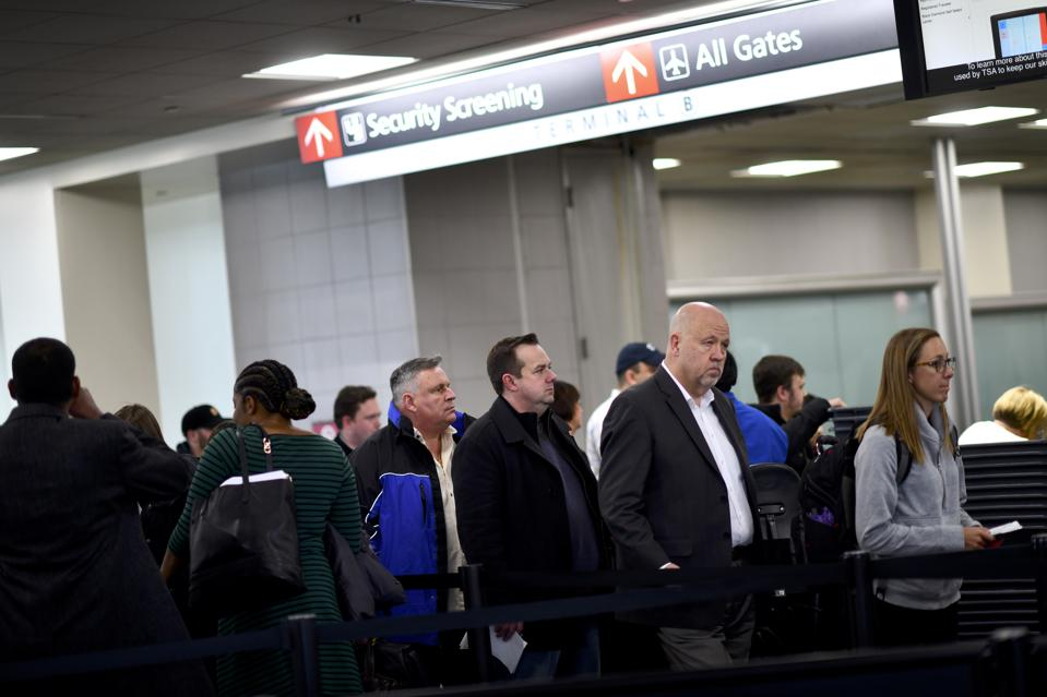 Philadelphia Airport TSA And Airport Workers Rally Against Gov't Shutdown Amid Large Air Traffic Delay Across Northeast