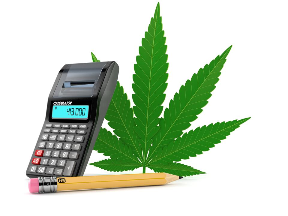 Cannabis leaf with calculator and pencil