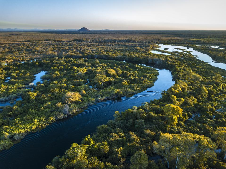 Miranda River photographed in Corumbá, Mato Grosso do Sul. Pantanal Biome, Brazil.