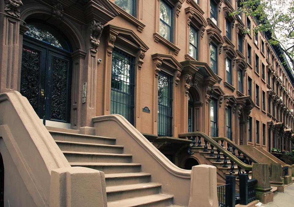 Front stoop of elegant brownstone in Brooklyn, New York City