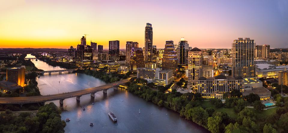Austin skyline during sunset