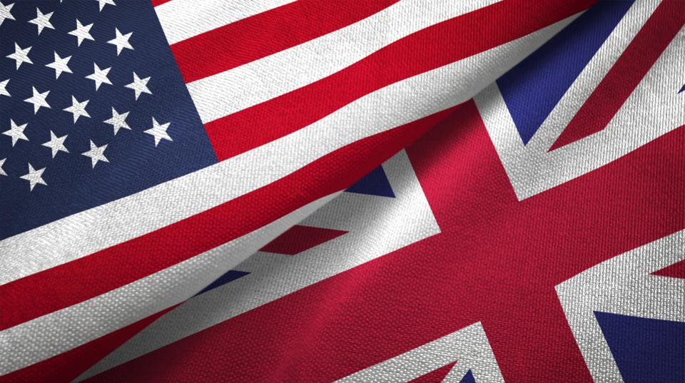 United Kingdom and United States two flags together realations textile cloth fabric texture