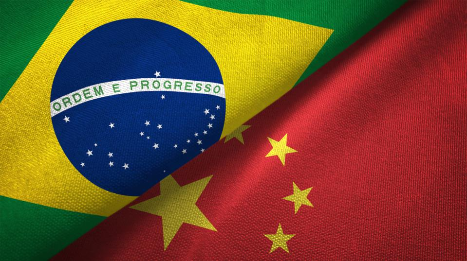 China and Brazil two flags together realations textile cloth fabric texture