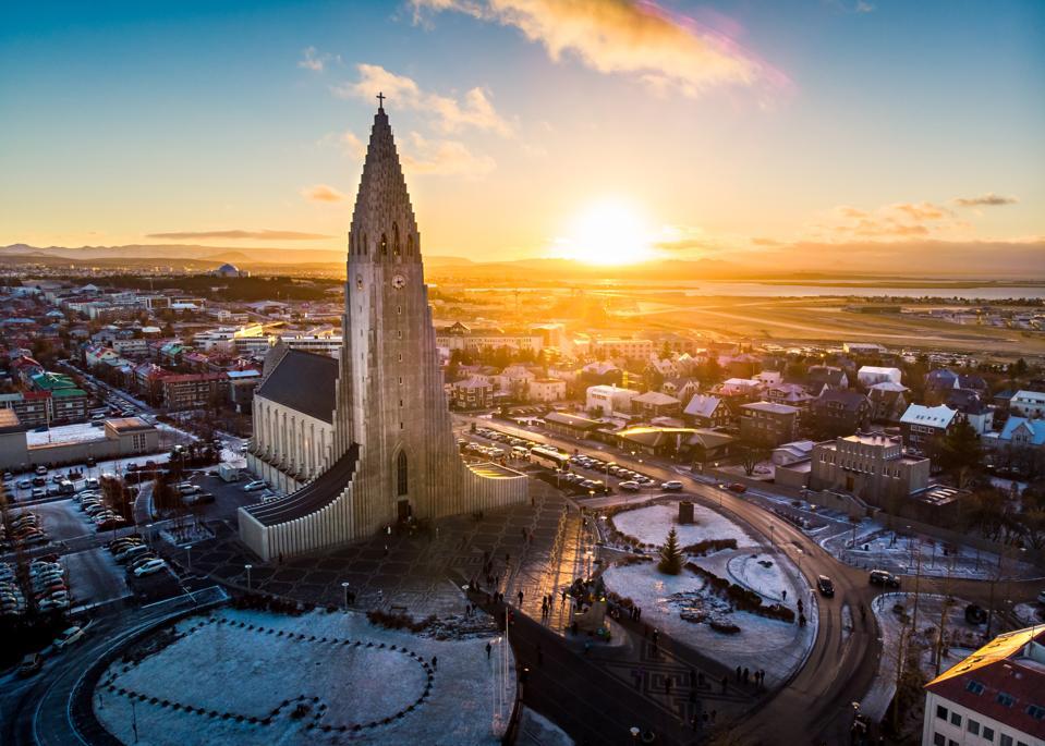 Hallgrimskirkja church and Reykjavik cityscape in Iceland aeria
