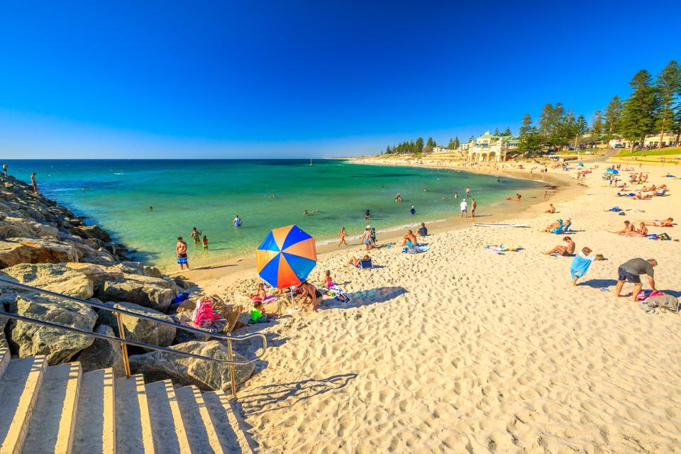 Swimming in the warm Indian Ocean at Cottesloe Beach