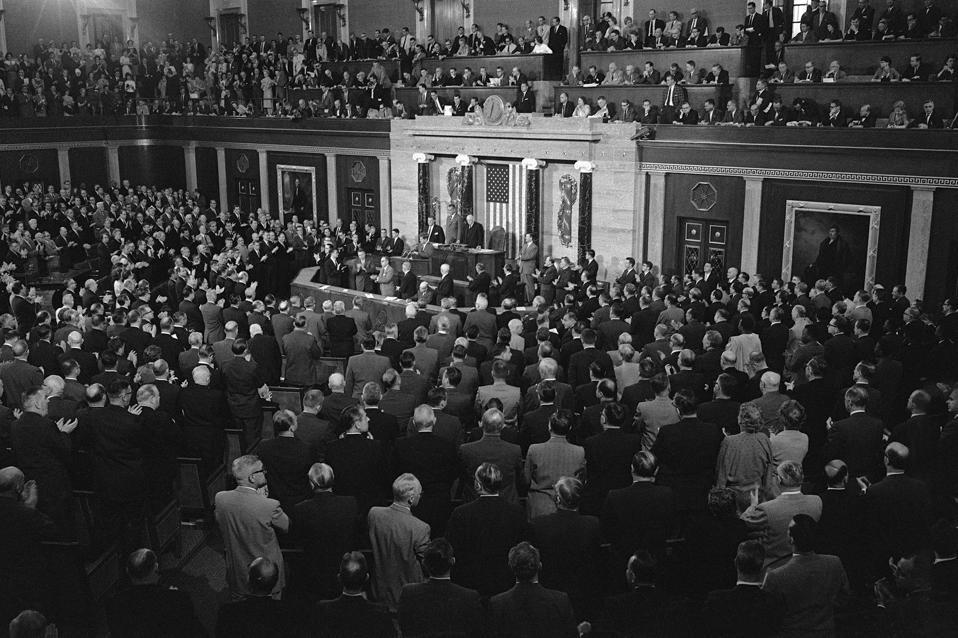 US President John Fitzgerald Kennedy Moon Landing speech.