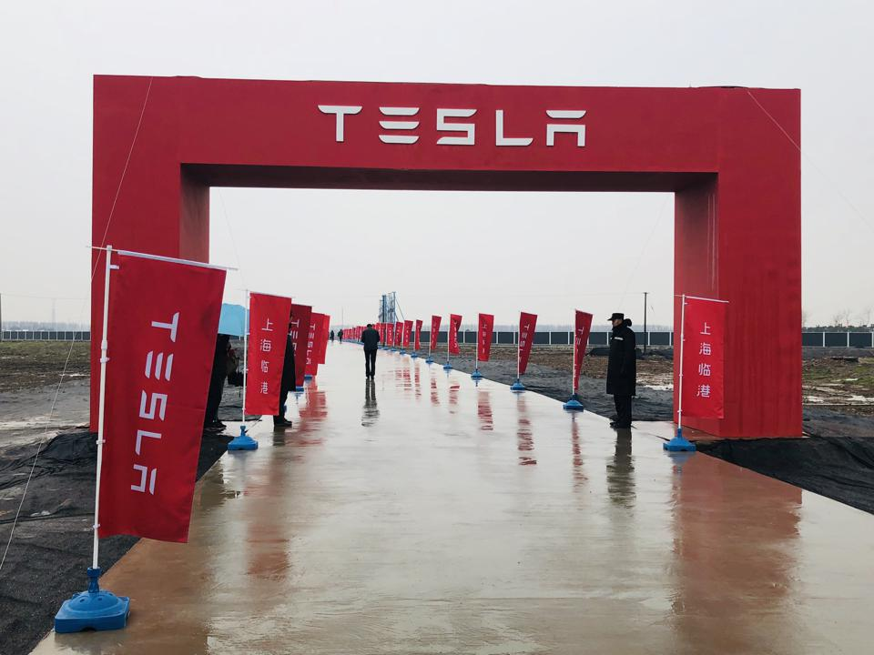 A Tesla logo is seen at the groundbreaking ceremony of Tesla Shanghai Gigafactory on January 7, 2019 in Shanghai, China.