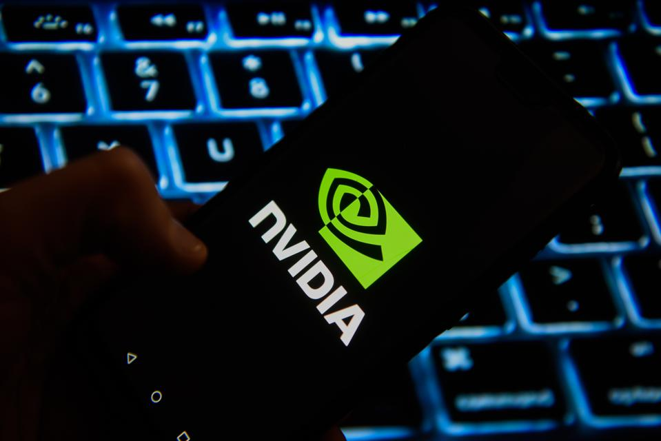 Nvidia logo is seen on an android mobile phone
