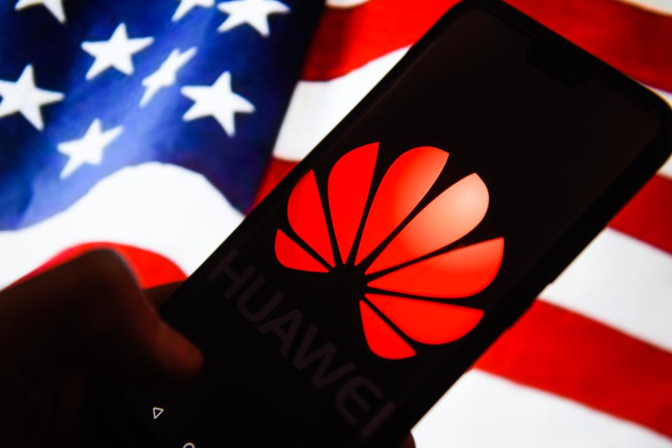Huawei  logo is seen on an android mobile phone with United...