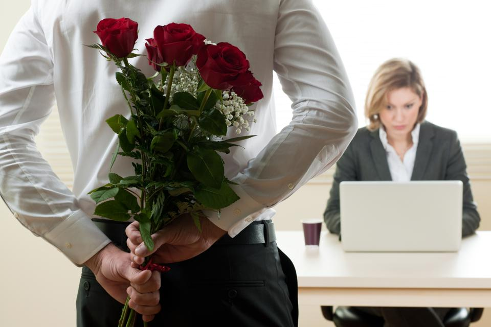 Businesswoman Receiving Red Roses