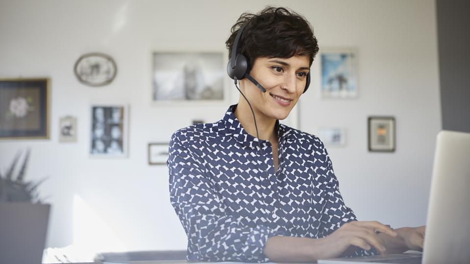 Woman working headset