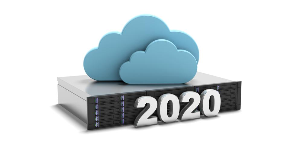 2020 data storage computing cloud and server isolated on white background. 3d illustration