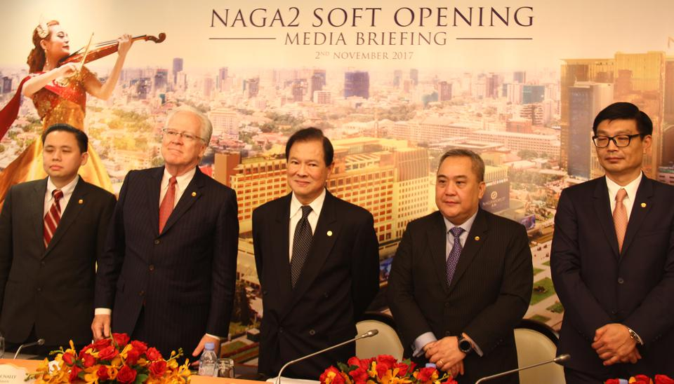Sean C Tan (1st LEFT), vice president of NagaCorp; NagaCorp CEO Chen Lip Keong (CENTRE), chairman Tim McNally and other executives briefed media on Naga2, citing China's Belt and Road initiative is bringing millions of Chinese tourists to Cambodia. 02NOV