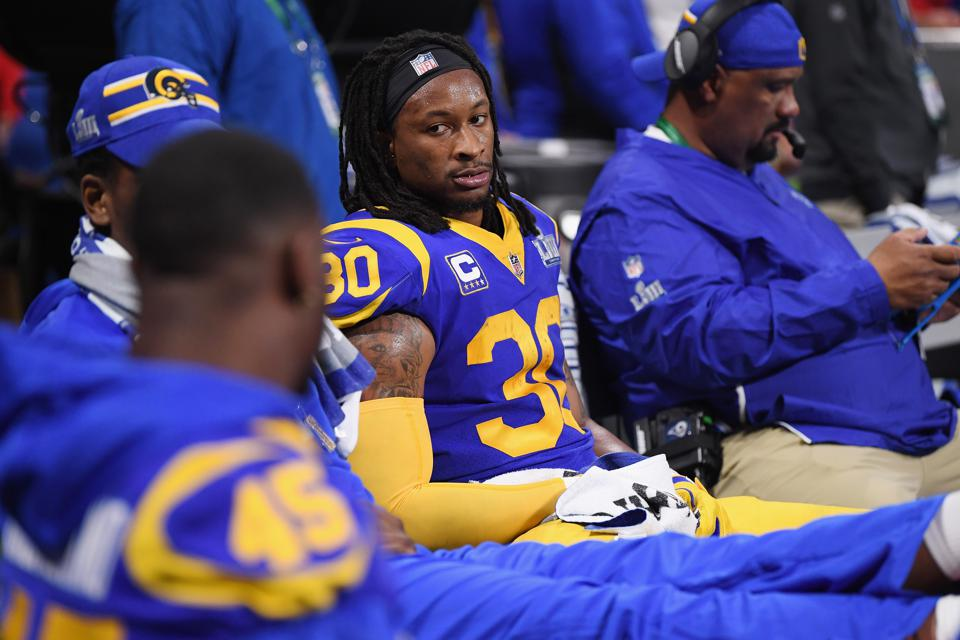Todd Gurley of the Los Angeles Rams during Super Bowl LIII on February 3.