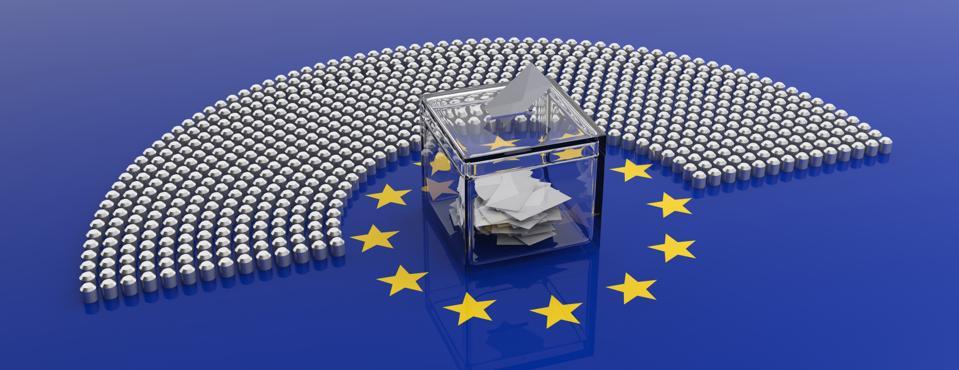 European Union parliament seats and a voting box on EU flag background. 3d illustration