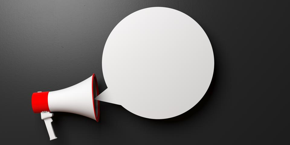 Megaphone and blank bubble isolated on black background, copy space. 3d illustration