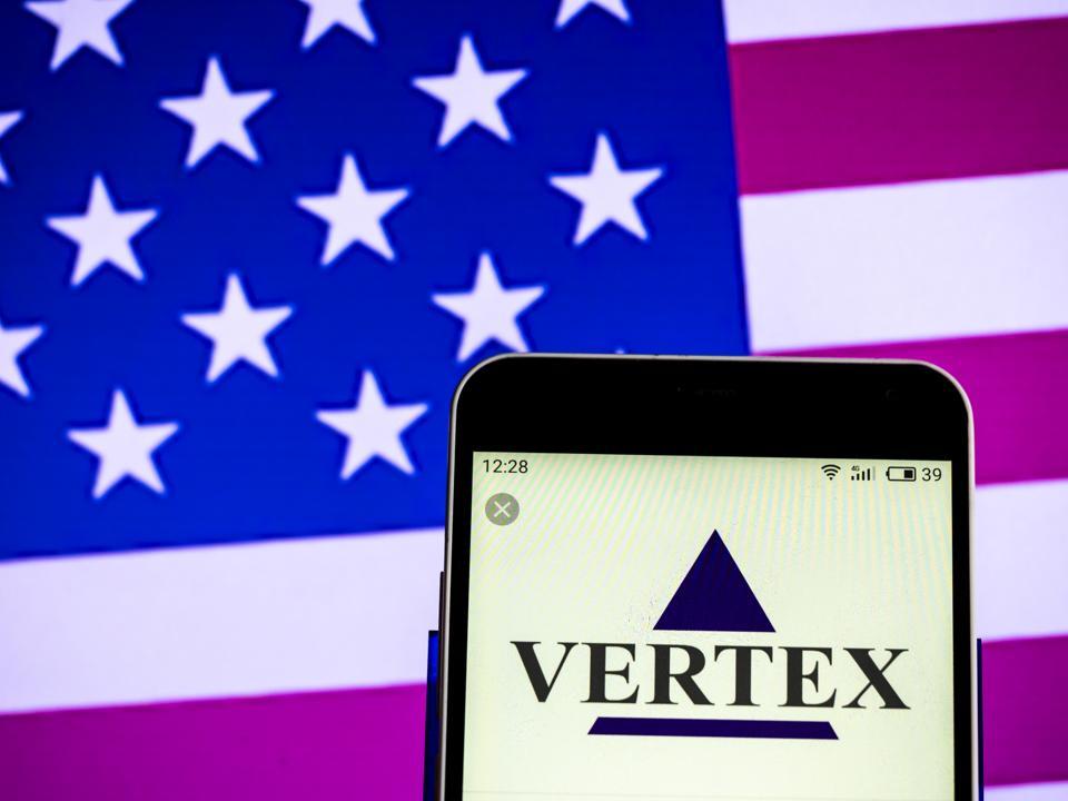 Vertex Pharmaceuticals Biopharmaceutical company logo seen