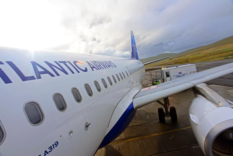Atlantic Airways flight lands in The Faroe Islands.