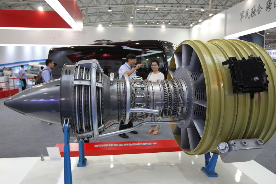 A turbofan engine made by Aviation Industry Corporation of China (AVIC)  is displayed at the exhibition of military-civil integration development of science, technology and industry for national defense in Beijing. 17JUL15 === Photo by Simon Song ===