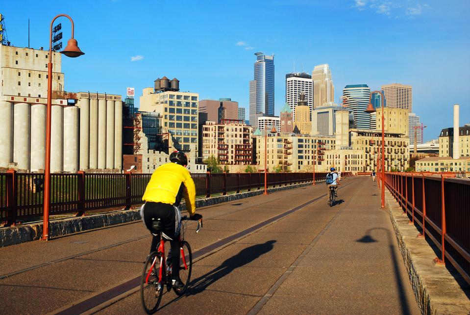 Riding to work, Minneapolis