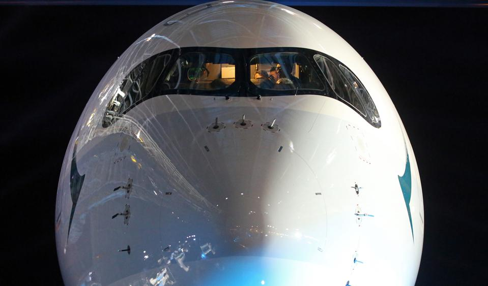 Cathay Pacific celebrates the arrival of its first A350 aircraft. 30MAY16 SCMP/Edward Wong