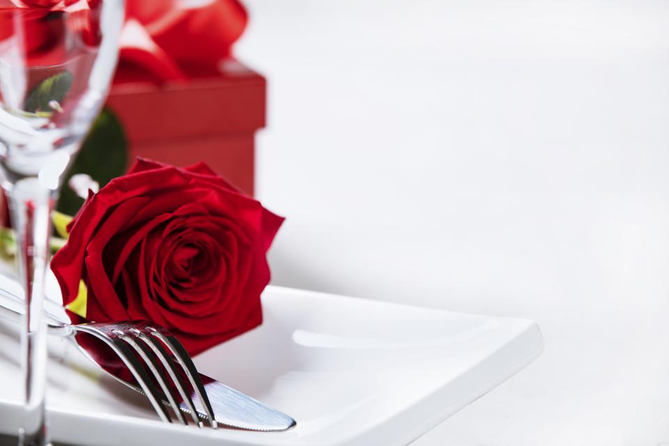 Valentine's Day or romantic dinner concept, close up