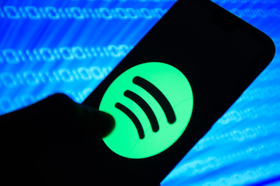 Spotify logo is seen on an android mobile phone