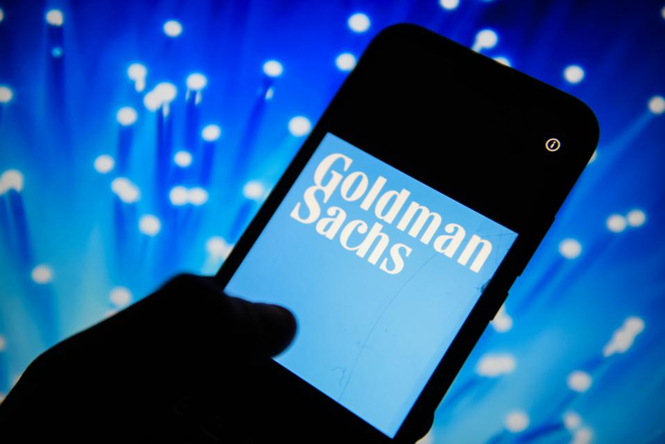 Goldman Sachs logo is seen on an android mobile phone