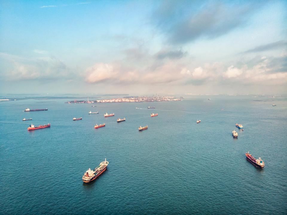 Cargo ships on the ocean area near Singapore