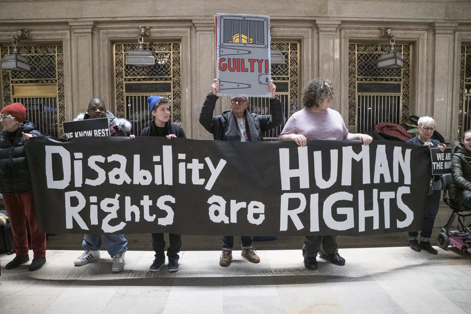 Demonstrators At Non-March For Disabled Women