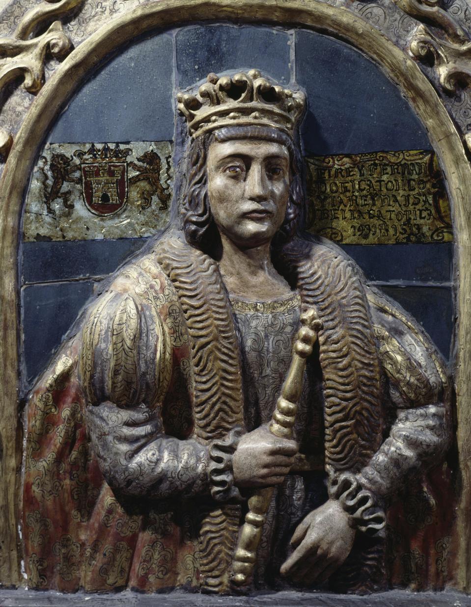Ferdinand II af Aragon, detalje af træalter
