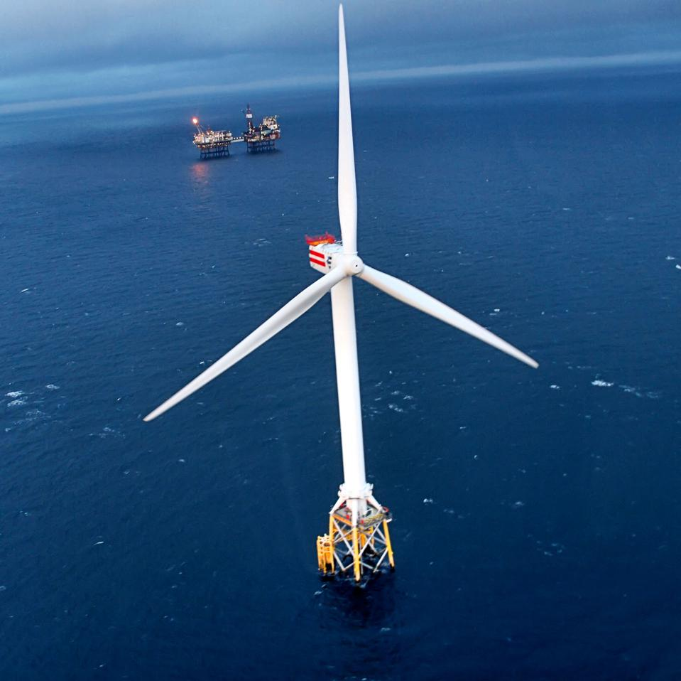 Wind turbine and platform off the Scottish coast in the North Sea.
