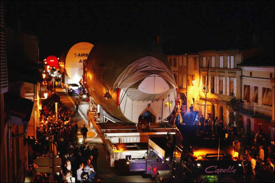 Oversized ″Itgg″ Convoy Route Designed To Carry Large A380 Elements Threatens The Village Of Levignac In Levignac de Guyenne, France In April 2004.