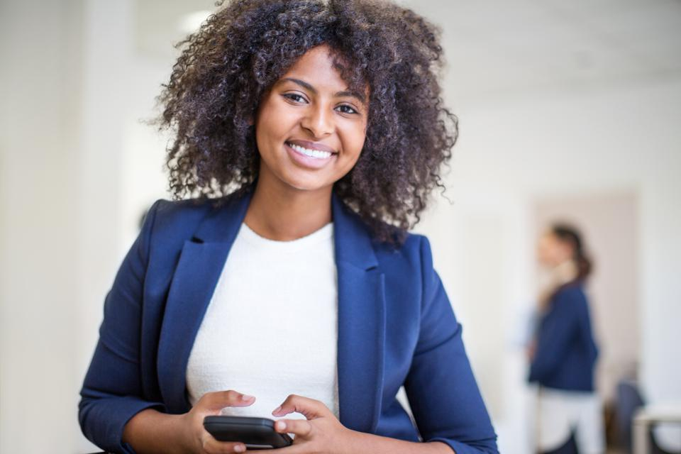 Female professional with a mobile phone