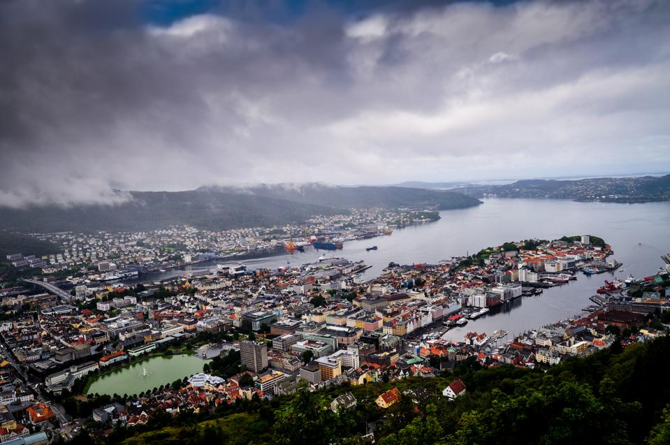 An aerial view of Bergen with storm clouds approaching